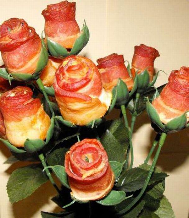 Троянди з бекону (21 фото)