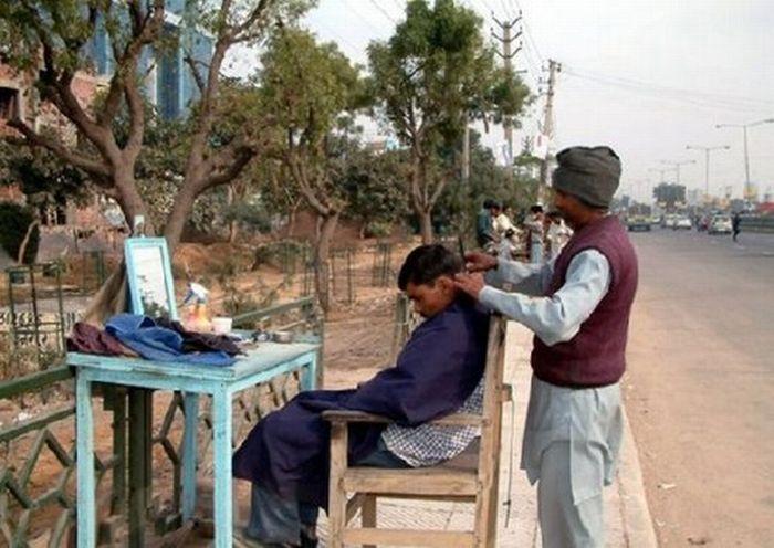Вулична перукарня для чоловіків (9 фото)