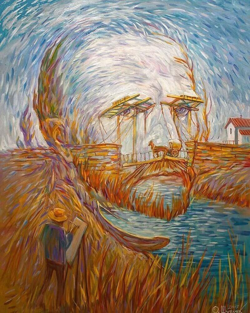 35 искажающих сознание картин - оптических иллюзий от Олега Шупляка живопись